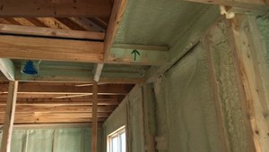 Careful attention to detail like blocking and air-sealing the top of this soffit area during construction help Health-E-Community Enterprises to build more comfortable, energy-efficient homes.