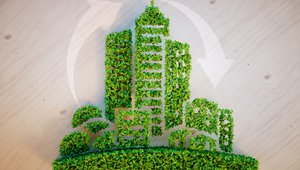Commercial office space green building on rise