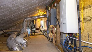 The air-to-water heat-pump uses water as the heat-transfer medium for very efficient heating and cooling.