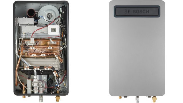 Gas-condensing boiler delivers heat and hot water for homes