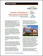 Consider AC Modules for Solar Power on Your Home